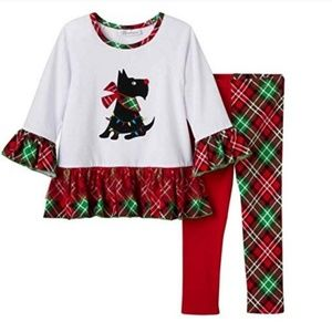 Bonnie Jean Christmas Scottie Dog Girls Outfit 4T